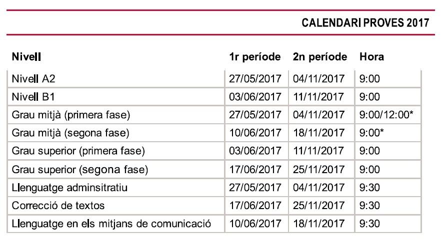 Calendari Proves JQCV 2017